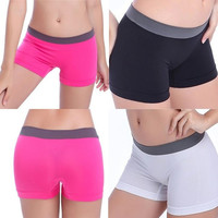 [Crazy Sexy Women Yoga Dancing Sport Waistband Shorts Spandex Elastic Pants Safety Underwear Hot Free Size [9852914895]