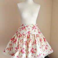 Cream Yellow Rose Floral Flower Lolita Otome Casual Sweet Skirt Lace Trim