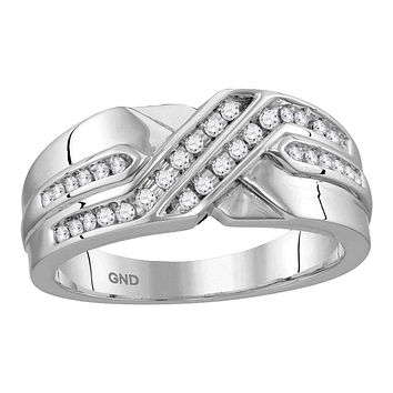 10kt White Gold Men's Round Diamond Two Row Wedding Anniversary Band Ring 1/4 Cttw - FREE Shipping (US/CAN)