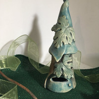 SALE ,  Fairy House in Blues & Greens, One-of-a-kind, Handmade, Night Light, Tree House, Candle Holder, Tea light holder, Faerie House
