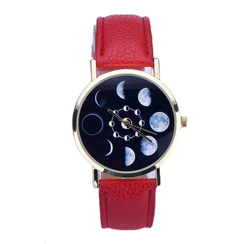 Women's Moon Phase Astronomy Watch Lunar Eclipse Pattern *Low Quantity*