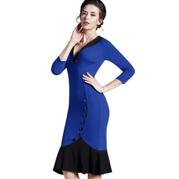 Nice-forever Mermaid Button Autumn 3 4 Sleeve red New Vintage dress V neck formal work bodycon office Wiggle Midi dress b27