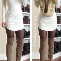 Mock Neck Bodycon Dress - White
