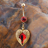 Golden Love Heart Dangle Wing Body Piercing Rhinestone Navel Belly Button Ring 4K3Y