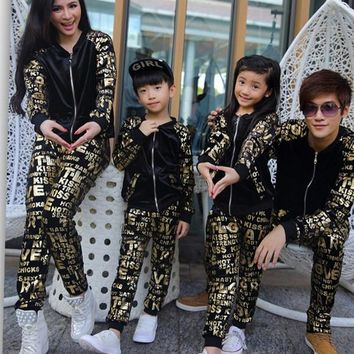 Autumn and winter 2017 autumn winter spring active pants mother and daughter clothes matching family clothing sets family look