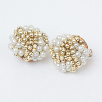 Faux Pearl and Gold Tone Bead Earrings Twist Design Clip On Mid Century