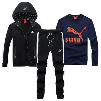 PUMA 2018 autumn and winter new sportswear casual sports suit two-piece Blue