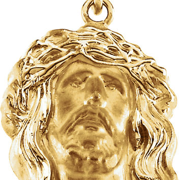 14k Yellow Gold Head of Jesus W/ Crown of Thorns Charm Pendant - 19mm