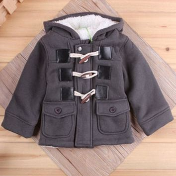 Gold Hands 2017 New Navy Children Baby Coats With Pocket Khaki Grey Thicken Winter Children Horn Button Jackets Hats Plus Size