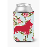 Corgi Shabby Chic Blue Roses Can or Bottle Beverage Insulator Hugger BB1069