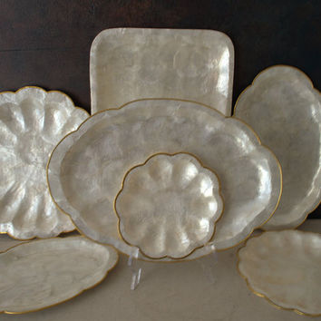 Capiz Shell Vanity Trays, Capiz Shell Serving Tray, Scalloped Capiz Shell Tray