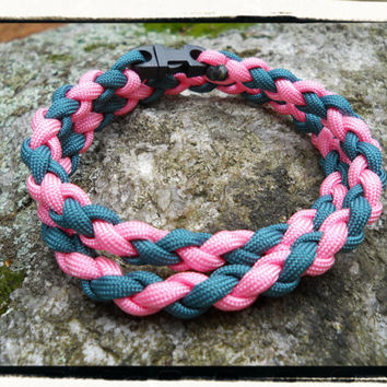 Pink Teal Survival Necklace