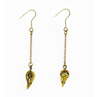 Bird Skull Brass Earrings