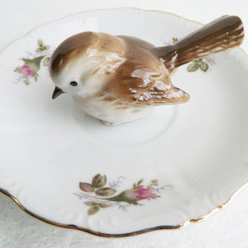 Vintage Bird Ring Display, Porcelain Trinket Dish, Floral Plate Jewelry Holder