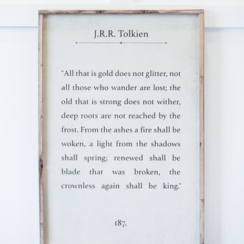 All That is Gold Does Not Glitter - Tolkien - Wood Sign