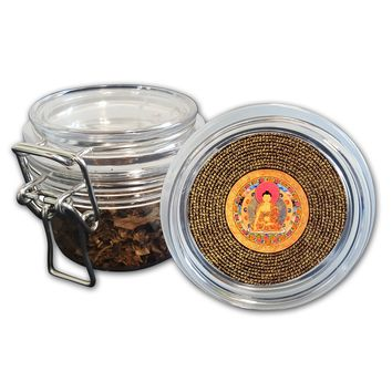 Airtight Stash Jar with Silicone Seal - Tibetan Buddha Mandala - Food-Grade Plastic with Locking Wire Top - Smell Proof Hermes Container