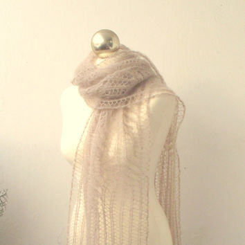 Light Beige hand knitted lace scarf with Frost Flowers pattern