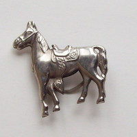 Horse and Saddle Buckle/Slide for Scarf/Kerchief in Silvertone - Vintage - Japan