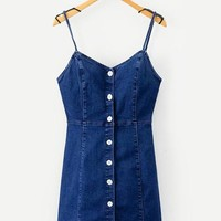 Button Front Cami Denim Dress Blue