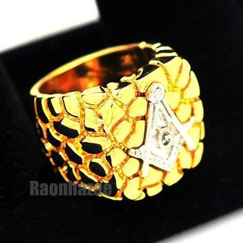 PEAPONRC NEW MENS FREEMASON MASONIC SILVER/GOLD PLATED NUGGET RING SIZE 8 - 13 N012T