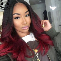 7A Ombre Lace Wig Full Lace Human Hair Wigs For Black Women Brazilian Ombre Lace Front Wigs 1B/Burgundy Body Wave Wavy Wig