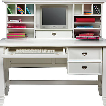 Belmar White 2 Pc Desk and Hutch