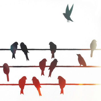 Birds On A Wire (2) Art Print by goguen | Society6