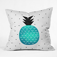 Elisabeth Fredriksson Turquoise Pineapple Throw Pillow