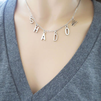 Personal, Name, Capital, Letter, Silver, Necklace, Custom, Garender, Initial, Necklace, Friendship, Birthday, Best friend, Gift, Jewelry