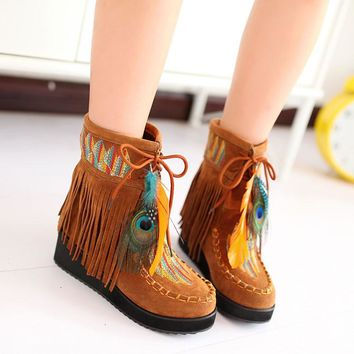 Indian Style Retro Fringe Boots Flock Chunky Feather Women Ankle Short Boots
