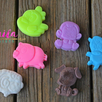 animal soaps, farm soap, animal birthday, rain forest party, farm birthday, john deere party, soap favors, unique soap, kids soap, novelty