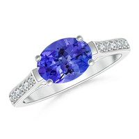 East West Set Oval Tanzanite Solitaire Ring With Diamond Accents