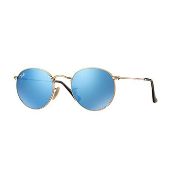 Ray Ban Round Metal Sunglass Gold With Blue Mirrored Lenses Rb3447n 001/9o | Best Deal Online