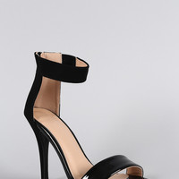 Contrasting Simple Straps Open Toe Heel