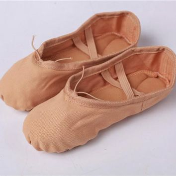 Canvas Soft Ballet Dance Shoe For Women Split Cow Leather Out soles Gym Yoga Dance sport Shoes Girls Toe Dance Slippers