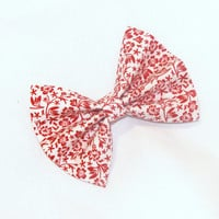 Hair Bow Vintage Inspired 1920s Red with Red Flowers Hair Bow Clip Rockabilly Pin up Teen Woman