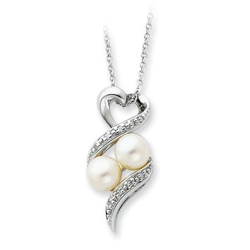 Sterling Silver, FW Cultured Pearl & CZ 2 P's in a Pod Heart Necklace
