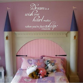 "A dream is a wish...Cinderella -19""h x 22""w-Baby Nursery Vinyl Wall Decal-Boys Girls Room Decal-Vinyl Lettering-Dorm Room Wall Art Lettering"