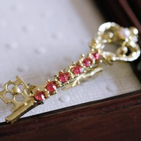 Vintage Skeleton Key Pin Brooch With Rhinestones