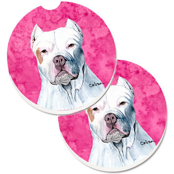 Pink Pit Bull Set of 2 Cup Holder Car Coasters SC9130PKCARC