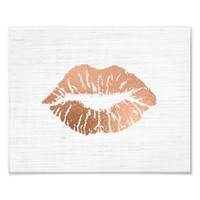 Rose Gold Foil-effect Luscious Lips Wedding Photo Print