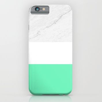 Marble White Mint iPhone & iPod Case by ARTbyJWP