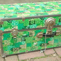 Vintage 1960's green storage trunk, The Big Lock with key, retro green decor, Pittsburgh furniture