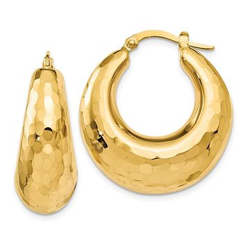 14k Yellow Gold Hammered Hinged Hoop Earrings