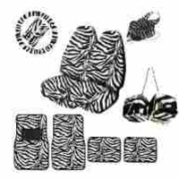 A Set of Animal Print Front and Back Floor Mats, 2 High Back Seat Covers, Hanging Dice and Lanyard Key Chain - Zebra White - Zebra White