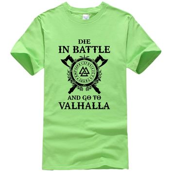 Summer 2018 New Fashion Vikings ODIN Top Men's T-shirts DIE IN BATTLE AND GO TO VALHALLA Funny T Shirt Men Harajuku Tops Tees