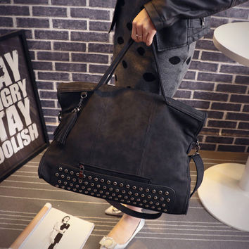 Rivet Leather Bag Chic Bag Female Casual Crossbody Messenger Bags Shoulder Bag Handbag for Women Gift