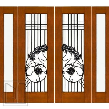 Prehung Double 2-1/4 Art Nouveau Mahogany Doors Sidelites Low-E Iron Work