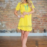 Scallop Me Up Dress Yellow