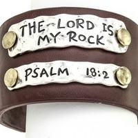 The Lord Is My Rock Brown Cuff Bracelet